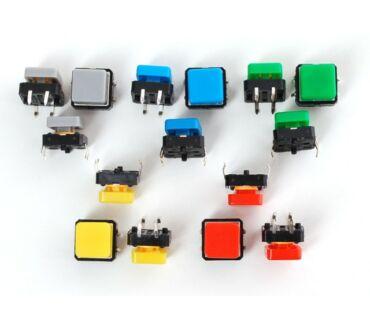 A1010 színes szögletes nyomógomb készlet - 15db/csomag