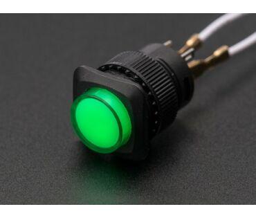 A1440 16mm-es világító nyomógomb - zöld