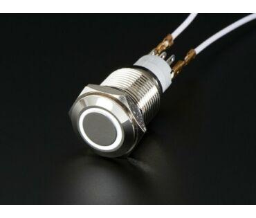 A558 Vandálbiztos nyomógomb fehér LED gyűrűvel, d=16mm