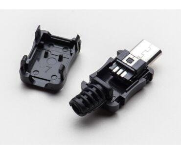 A1390 USB-B Micro, szerelhető lengő csatlakozó dugó