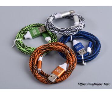 Kábel USB 1m-es USB A - Micro USB B / táp és adat (szövet)