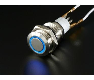 A481 Vandálbiztos nyomógomb kék LED gyűrűvel, d=16mm