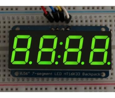 A880 0.56 inch clock display w/I2C backpack - green