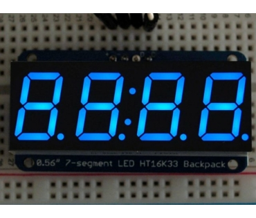 A881 0.56 inch clock display w/I2C backpack - blue
