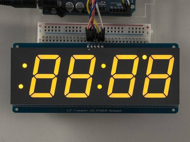 A1269 1.2 inch 4-Digit 7-Segm. Display w/I2C Backpack Yellow
