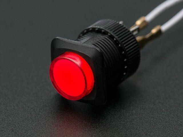 A1439 16mm-es világító nyomógomb - piros