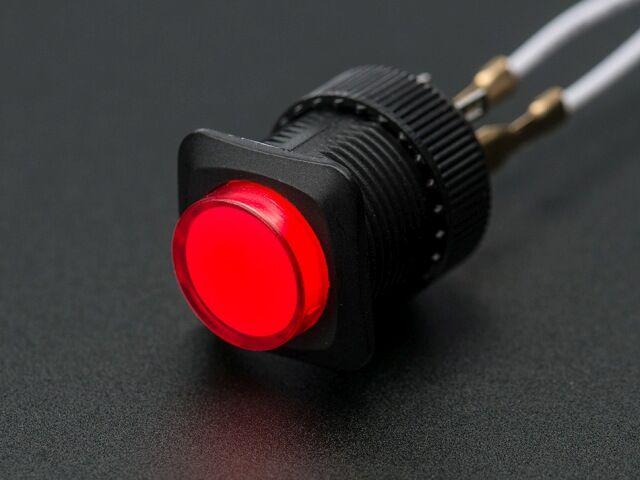 A1442 16mm-es világító nyomókapcsoló - piros