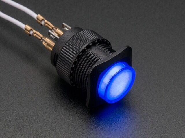 A1477 16mm-es világító nyomógomb - kék