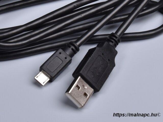 Kábel USB 1,8m-es USB A - Micro USB B csatlakozók