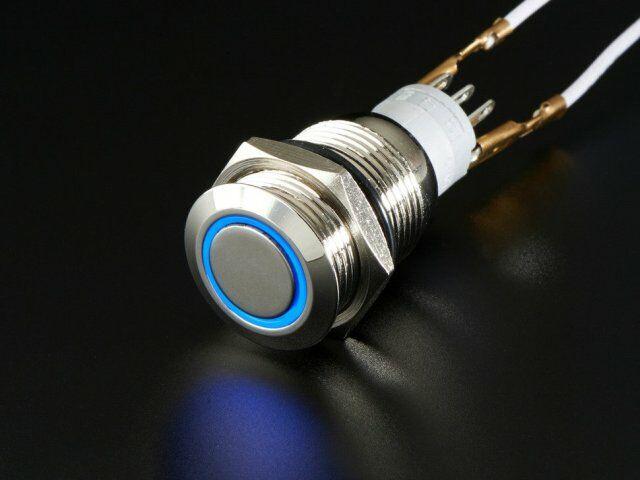 A915 Vandálbiztos kapcsoló kék LED gyűrűvel, d=16mm