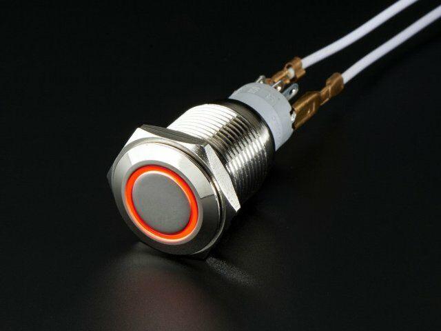 A916 Vandálbiztos kapcsoló piros LED gyűrűvel, d=16mm