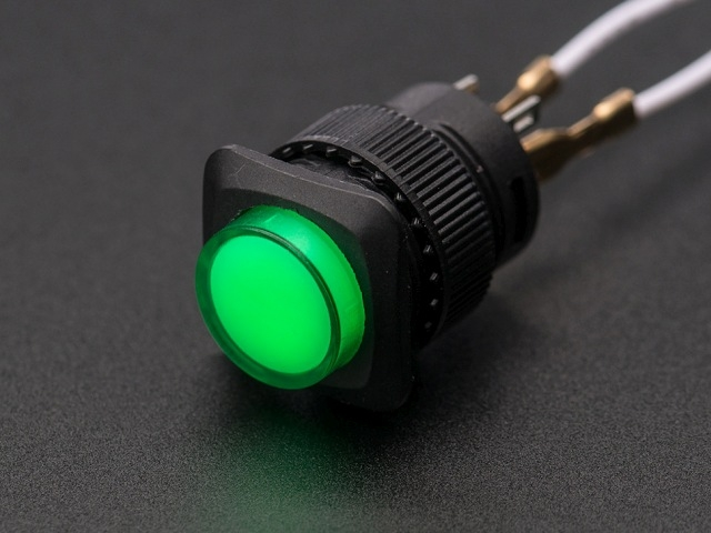 A1443 16mm-es világító nyomókapcsoló - zöld