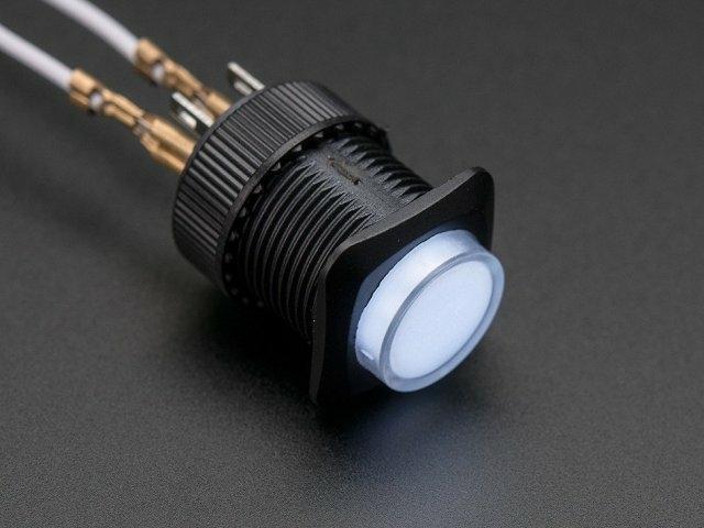 A1479 16mm-es világító nyomógomb - fehér