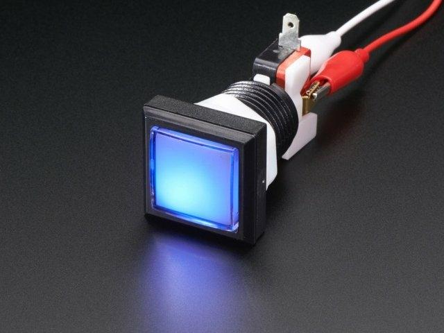 A491 Nyomógombos mikrokapcsoló kék LED világítással 33x33mm