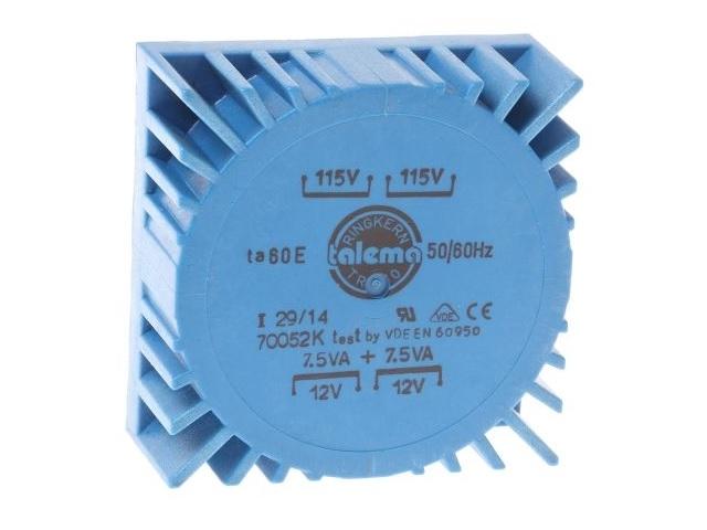 Trafó 15VA 2x12V Toroid PCB  (70052)