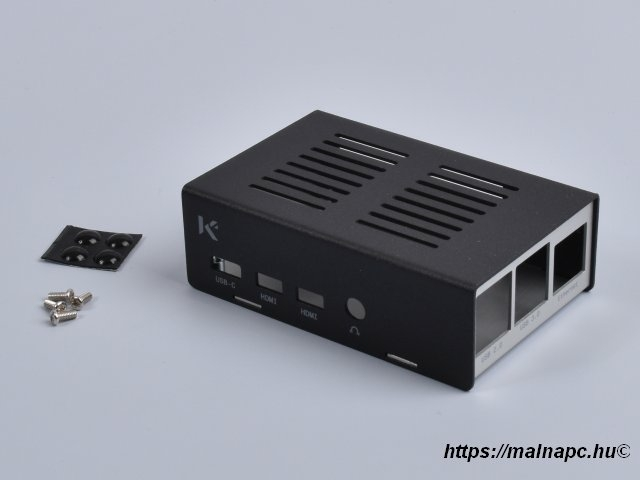 KKSB fekete/ezüst fém doboz Raspberry Pi 4-hez