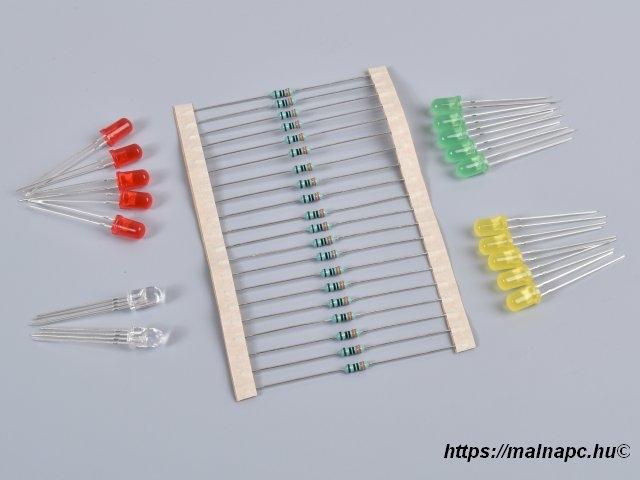 LED csomag - 5x piros, 5x sárga, 5x zöld, 2xRGB, 20x330R