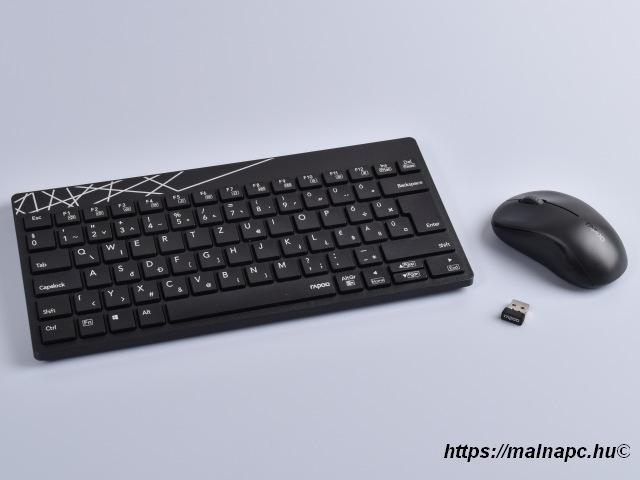 Rapoo 8000S fekete HUN billentyűzet és egér