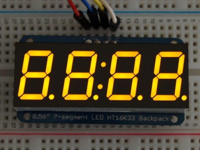 A879 0.56 inch clock display w/I2C backpack - yellow